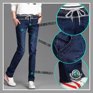 Women Girls Elastic Waist Drawstring Relaxed Straight Denim Pants (AF) - Dark Blue / 31 - Pants