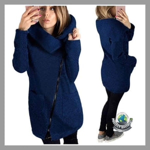 Womens Winter Knitted Zipper Cotton blend Turtleneck Long Slim Hoodie Coat/Jacket (TT) - Jackets