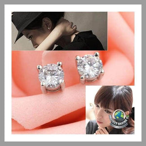 Womens Round Zircon Magnet Ear Stud Earrings (PT) - Earrings