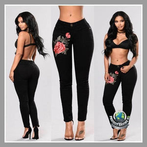 Women Flower Embroidered Skinny Pants (CH) - Pants