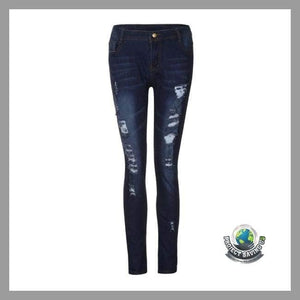 Women Skinny Ripped Jeans Stretch Slim Pants (FH) - Pants