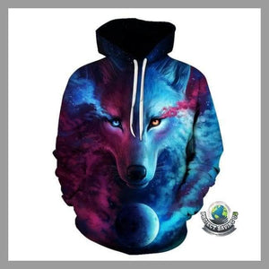 Men/Women Casual Wolf 3D Hooded/Pullover/Sweatshirt (NE) - LMS050 / 4XL - Hoodies