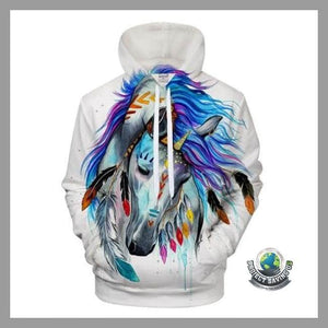 Men/Women 3D Horse Hooded/Pullover/Sweatshirt (NE) - LMS360 / 4XL - Hoodies
