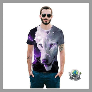 Mens Tibetan Wolf Short Sleeve T-Shirt (CC) - As Shown / M - T-Shirts