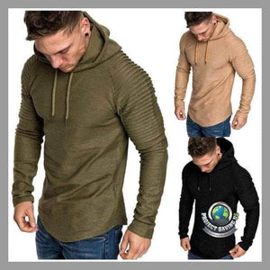 Mens Solid Color Slim Fit Hooded/Pullover/Sweatshirt (CH) - Hoodies