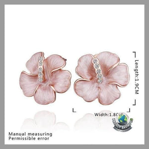 Womens Swarovski Crystal 18K Rose Gold Plated Flower Stud Earrings (NE) - Earrings