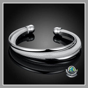 Womens Double Layer Bangle in 18K White Gold ( FS) - Bracelets
