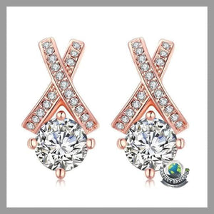 Womens 18K Rose Gold Diamond Earring (WA) - Earrings