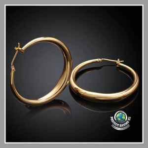 Womens 3 Pairs Gold Filled Hoop Earrings(PT) - Earrings