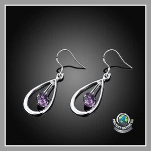 Womens 18K White Gold Purple Circular Drop Earrings (NE) - Earrings