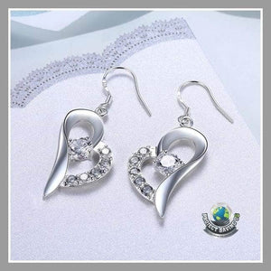 Womens 18K White Gold Petite Heart Earrings (TT) - Earrings