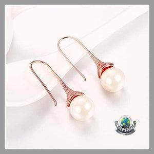 Womens 18K Rose Gold Drop Down Earrings with Pearls Made (CC) - Earrings