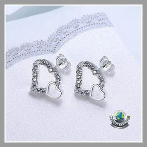 Womens 18K White Gold Double Hearts Stud Earrings (WW) - Earrings