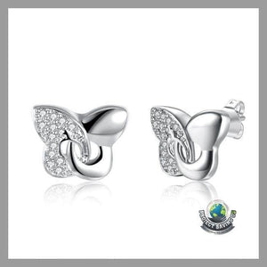 Womens 18K White Gold Butterfly Earrings (FH) - Earrings