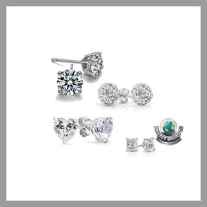 Womens 4 Piece Set Stud Earrings(NE) - Earrings