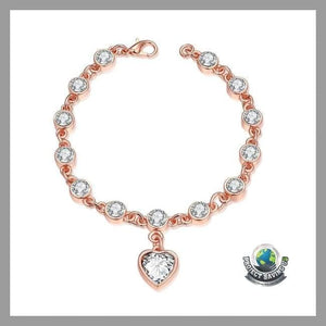 Womens Heart Rose Gold 18K Bracelet (FH) - Bracelets