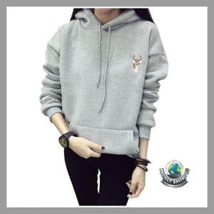 Women Long Sleeve Embroidery Hooded Sweatshirt (FS) - Light Grey / XL - Hoodies