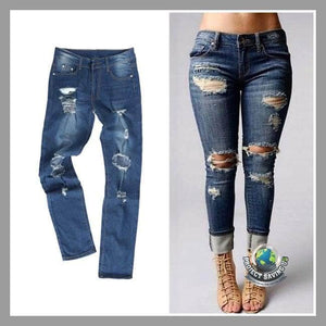 Womens Ripped Denim Pants (WA) - Pants