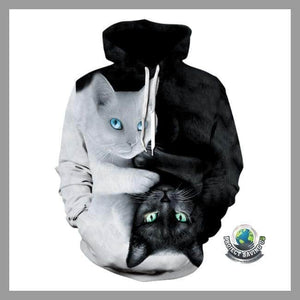 Men/Women Two-Cat 3D Hooded Sweatshirt 12 Other Design Choices (PT) - Hoodies
