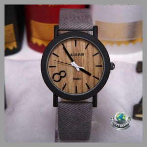 Mens Quartz Wooden Watch (AC) - Grey - Watches