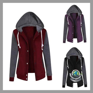 Womens Long Sleeve Hooded Sweatshirt Causal Coat/Jacket (AF) - Jackets