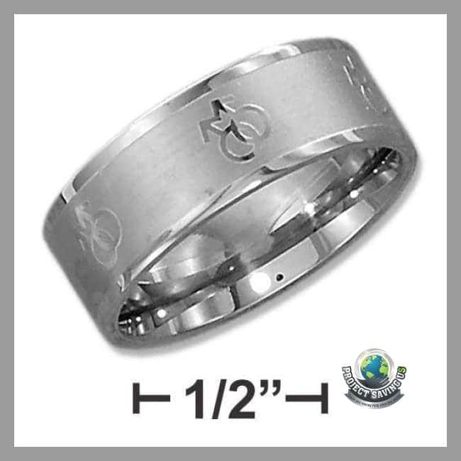 Womens Mens Stainless Steel 8mm Laser Band (USO) - 9 - Rings