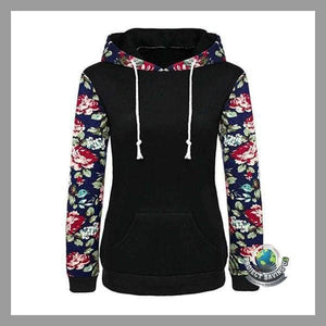 Womens Floral Long Sleeve Hooded Pullover Sweatshirt (WA) - Black / L - Hoodies