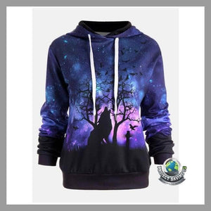 Women Wolf Design Hooded Sweatshirt (NE) - Purple / L - Hoodies