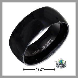 Mens Womens Stainless Steel 9mm Black Color Band Ring (CH) - 7 - Rings