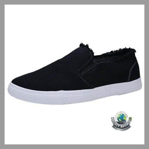 Mens Casual Canvas White Shoes (CC) - Black / 6.5 - Shoes