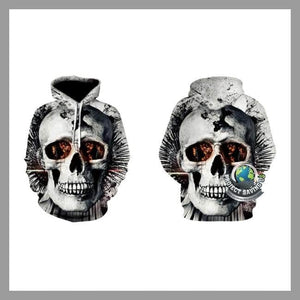 Mens 11 Choices Skull head Hooded Sweatshirt (CH) - Hoodies