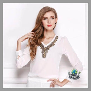 Women Solid Color Vintage Long Sleeved Shirt (PD) - White / S - Shirts