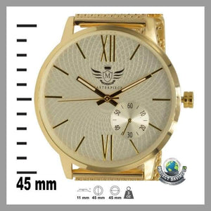 Mens Gold Slim Mesh Bracelet Executive Watch (AF) - Watches