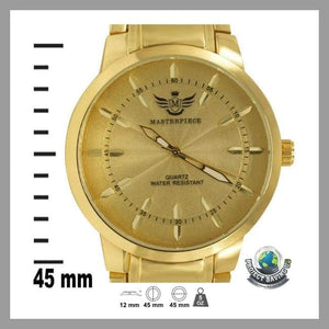 Mens Gold Leaf Index Dial Executive Classic Watch (TT) - Watches