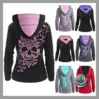 Women's Fashion Butterflies Skull Print Hooded Sweatshirt