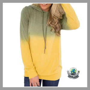 Women Long Sleeve Hooded Sweatshirt (USO) - Yellow / L - Hoodies