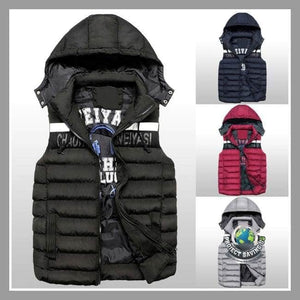 Mens Winter Double-sided Warm Hooded Thick Vest Jacket (PD) - Jackets