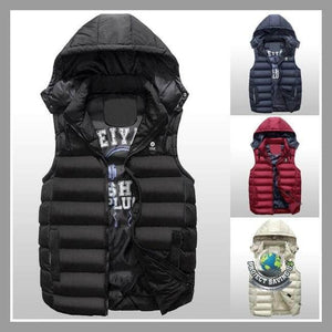 Mens Winter Double-sided Warm Hooded Thick Vest Jacket (FD) - Jackets
