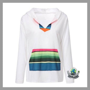 Womens Long Sleeve Stripe Hooded Sweatshirt (FH) - Hoodies
