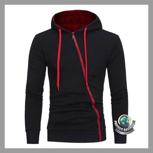 Mens Long Sleeve Hooded Zipper Sweatshirt (FD) - Black / L - Hoodies