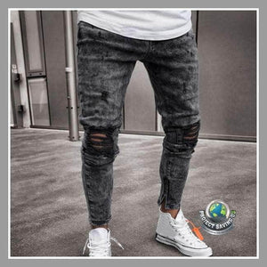 Mens Stretch Denim Ripped Fit Jeans Pants (CC) - Gray / L - Pants