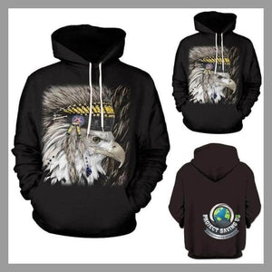 Men Women Casual Eagle Design Long Sleeve Hooded Sweatshirt (NE) - Black / L - Hoodies
