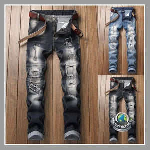 Mens Stretchy Ripped Jeans Destroyed Fit Denim Pants (WW) - Pants