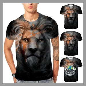Mens Lion Design Short Sleeved T-Shirt (CH) - T-Shirts