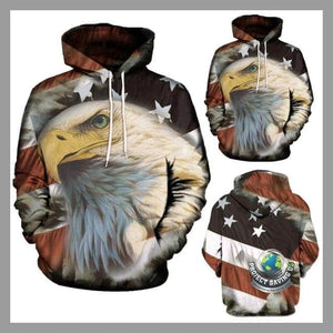 Men Women Casual American Eagle Design Long Sleeve Hooded Sweatshirt (USO) - Khaki / L - Hoodies