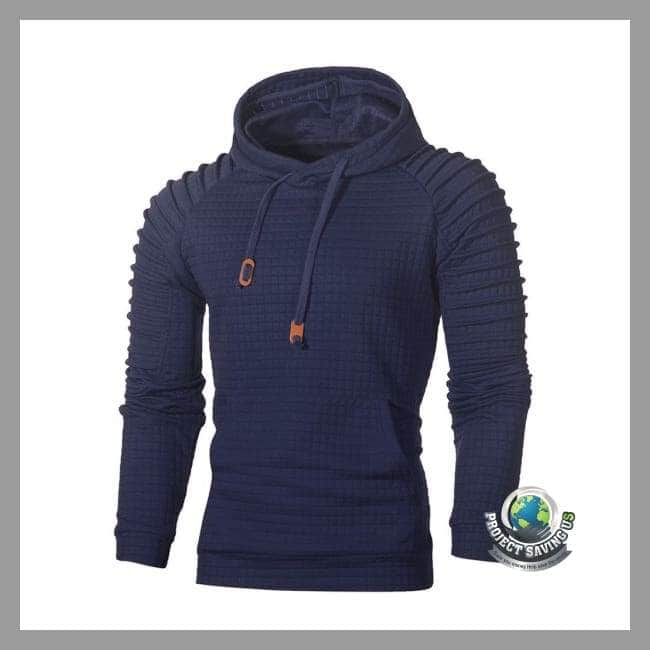 Mens Long Sleeve Hooded Sweatshirt (PD) - Navy / L - Hoodies