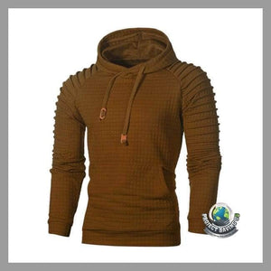 Mens Long Sleeve Hooded Sweatshirt (PD) - Coffee / L - Hoodies