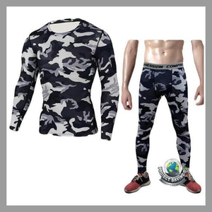 Men Camouflage Fitness T-shirt Pants Sports Suit (FS) - Gray / L - Sports Suit