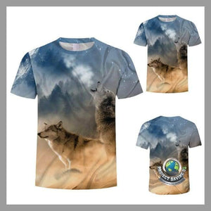 Mens Two Wolf Design Short Sleeve T-Shirt (NE) - T-Shirts