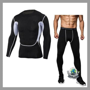 Mens Bodybuilding T-shirt Pants Sports Suit (USO) - Black / L - Sports Suit